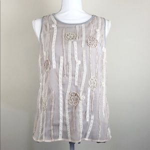 E by Eloise Anthropologie Lace Embellished Tank